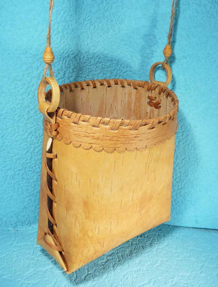 Handmade Basket Gifts : Russian handmade art birch bark berry basket bag tuesok